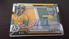 2016 Topps Strata Rickey Henderson GOLD Parallel Jumbo Patch On Card AUTO # /5