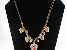 Ladies Vintage Style Red Rhinestone Multiple Hearts with Wings Necklace