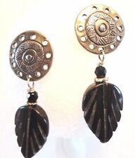 Distictive Pewter and Black Onxy Gemstone Tribal Feather Sun Pierced Earrings