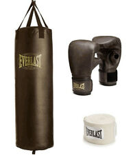Everlast 100 lb Heavy Boxing Punching Bag Set Gloves Hand Wraps MMA Training NEW