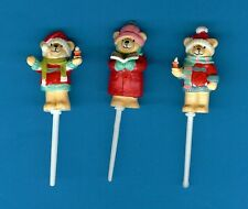 6 TEDDY BEAR CAROL SINGER CHRISTMAS CAKE / CUPCAKE PICKS decorations