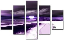 5 Panel Total 115x80cm Large ABSTRACT Wall  ART CANVAS  DIGITAL Blade Purple