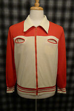VTG 70s ACTIVA two tone zip up Mens Jacket warm up double breasted White Red