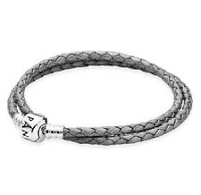 AUTHENTIC PANDORA SILVER GREY Double Leather Bracelet LARGE ( 590705CSG-D3)16in