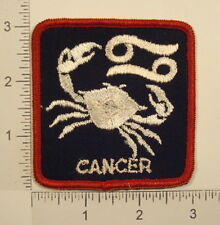 Vintage 1970s CANCER ZODIAC SIGN Horoscope Astrology Crab PATCH