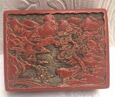 Beautiful Antique Carved Chinese Cinnabar Box