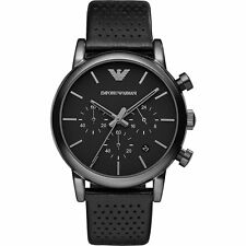 NEW EMPORIO ARMANI AR1737 MENS BLACK LEATHER CHRONOGRAPH WATCH - 2 YEAR WARRANTY