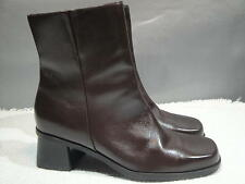 WOMENS 8.5 M NATURALIZER BRAZIL BROWN LEATHER FASHION LINED STRETCH ZIPPER BOOT