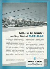 1951 Rohm & Haas Plexiglas Ad Bell H-13D Helicopter Bubble Windshields Copter
