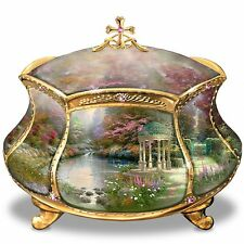 THOMAS KINKADE 22 K GOLD TRIMMED MUSICAL TRINKET JEWELRY BOX NEW