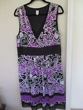 Womens Sangria Silk Summer Dress Geometric Prt Purple Gray Blk Plus Size 16/18W