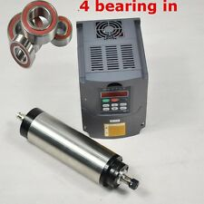 FOUR BEARINGS 1.5KW WATER COOLED SPINDLE MOTOR ER16 & VFD INVERTER DRIVE UPDATED
