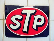 Old Vintage STP Sign Race Car Motor Oil Embossed Metal Gas Station Original