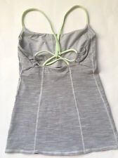 LULULEMON DANCING WARRIOR Tank Top size 4 Gray Wee Are From Space/Clear Mint EUC
