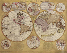 Antique Map, Globe Terrestre, 1690 Art Print by Vincenzo Coronelli, 20x16