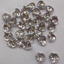 30 x SILVER BACK CRYSTAL HEART 2 HOLE 13mm SEWING, SCRAPBOOKING, CRAFT ETC.,