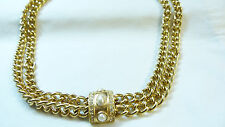 Vintage Signed Givenchy Gold tone Faux Pearl Rhinestone double chain necklace