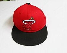 New Era 9Fifty Snapback Red Miami Heat Flat Brim Ball Cap Excellent