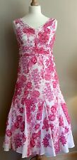 PER UNA PINK WHITE FLORAL DRESS SIZE 10 r COTTON MARKS AND SPENCER