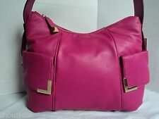 NWT MICHAEL KORS BEVERLY FUSCHIA LEATHER LG TZ SHOULDER BAG PURSE $348