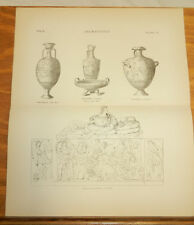1875 Antique ARCHAEOLOGY Print/VASES AND ETRUSCAN SARCOPHAGUS