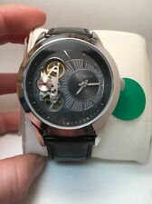 Elgin Men Automatic-Quartz Sub-Second Dial Black Leather Watch 48mm FG8004-HR
