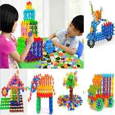 100PCS Amazing Child Kid  Multicolor Snowflake Building Blocks Educational Toy F