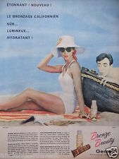 PUBLICITÉ 1958 BRONZE BEAUTY DE GEMEY LE BRONZAGE CALIFORNIEN - ADVERTISING