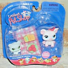 Littlest Pet Shop PICNIC Pig & Gray kitten cat  87 88 pet pairs VHTF