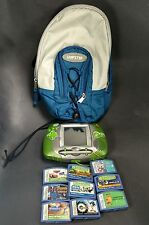 Leap Frog green Leapster learning game system 9 game cartridges sling bag carry