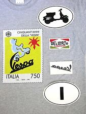 VESPA T-SHIRT + sticker  + patch ITALIA scooter club lot 50th postage stamp ROMA