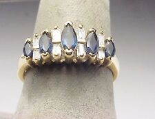 Diamond Baguette Sapphire Estate Ring 14k Yellow Gold