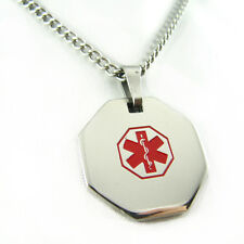 MyIDDr - Womens LATEX ALLERGY Steel Medical Alert ID Necklace, PRE-ENGRAVED