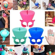 Silicone Finger Wearable Nail Polish Bottle Holder Universal Fits Tweexy GREEN