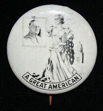 "General Pershing ""A Great American"" Memorial Pinback 1.75"" WWI WWII Pin"