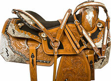 WESTERN LEATHER SHOW PARADE HORSE SADDLE PLEASURE TRAIL SILVER TACK SET 16""