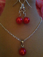 "Pearl Set Red/SterlingSILVER NECKLACE18""&925 EARINGS,boxed"
