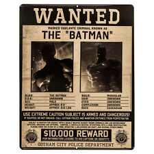 Batman Wanted Poster Embossed Metal Tin Collectible Sign  Highly Collectible