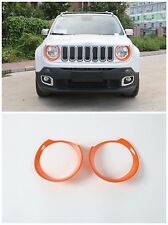 ABS Head Light Lamp Cover Frame Trims for Jeep Renegade 2015-2016 2 pcs-Orange