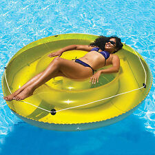 Inflatable Round Lounger 72inch 6ft w/Grab Rope Pool Beach Lake Float Raft Vinyl