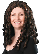 Adult Ladies Spiral Curly Ringlet Curls Brown Wig Film Star Baroque Fancy Dress