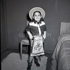 Kid Girl Little Cowgirl Dale Evans Western Outfit Vintage 1950s Negative Photo