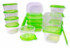 30 Pcs Reusable Plastic Food Storage Containers Set with Air Tight Green Lids