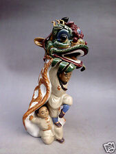 "9""Chinese archaize art collection ceramic statues of Chinese lion dance"