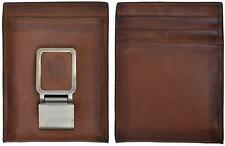 3D Belt Western Mens Wallet/MoneyClip Leather Bifold Distressed Basic Brown W664
