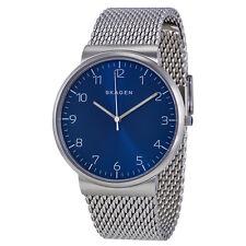 Skagen Ancher Blue Dial Stainless Steel Mesh Unisex Watch SKW6164