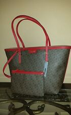 New DKNY Donna Karan Coated Brown Red Tote Shoulder Bag with Wristlet SET