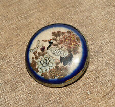 Antique Vtg Japanese Satsuma Pin Brooch Crane & Floral Motif