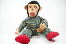 Vintage Stuffed Monkey Toy Doll - 1950s 1960s - Vinyl face and hands Cloth Body