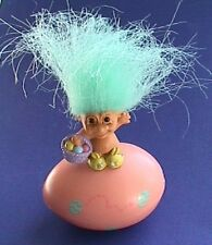 Russ TROLL Easter FIGURINE DOLL on EGG Container Vintage AQUA Hair WISHNIC Mini
